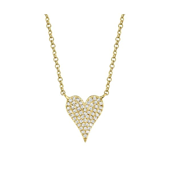 Lady's Yellow 14 Karat Heart Necklace - small Moore Jewelers Laredo, TX