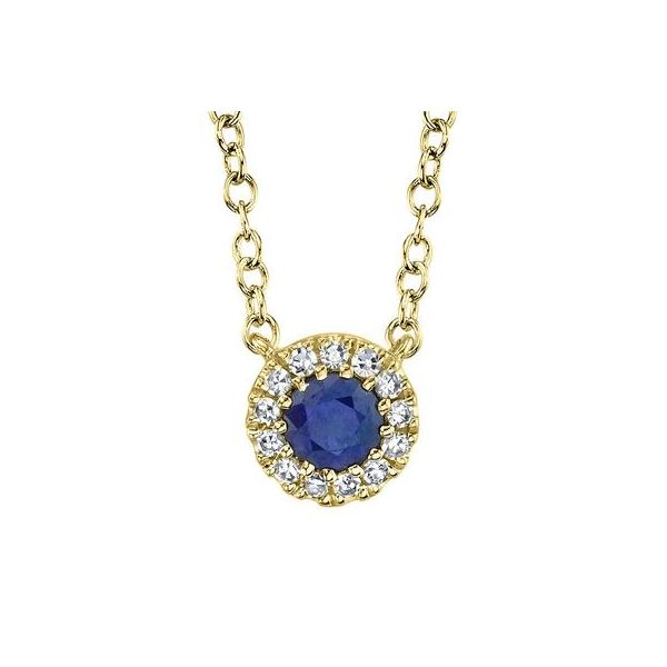 Lady's Yellow 14 Karat Collar Necklace With Round Diamonds And One Round Sapphire Moore Jewelers Laredo, TX