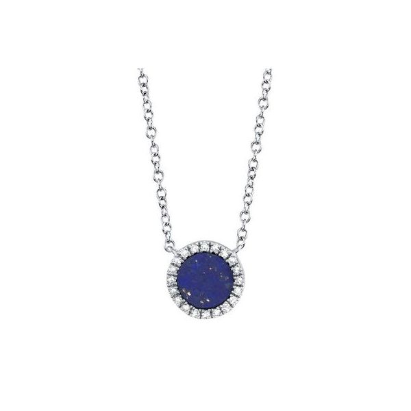 Lady's White 14 Karat Necklace With One Lapis And Round Diamonds Moore Jewelers Laredo, TX