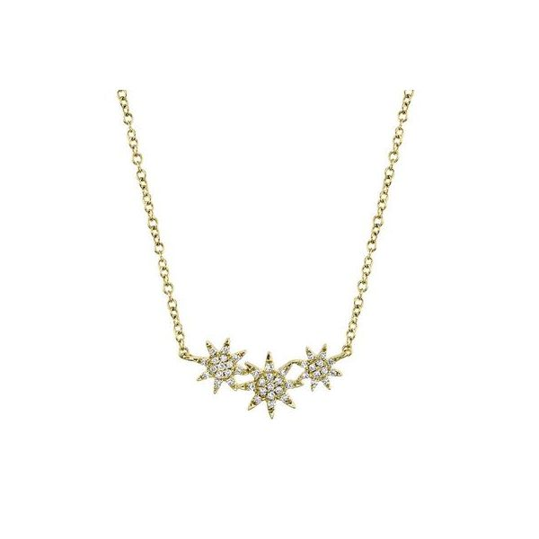 Lady's Yellow 14 Karat Collar Star Necklace With Round Diamonds Moore Jewelers Laredo, TX