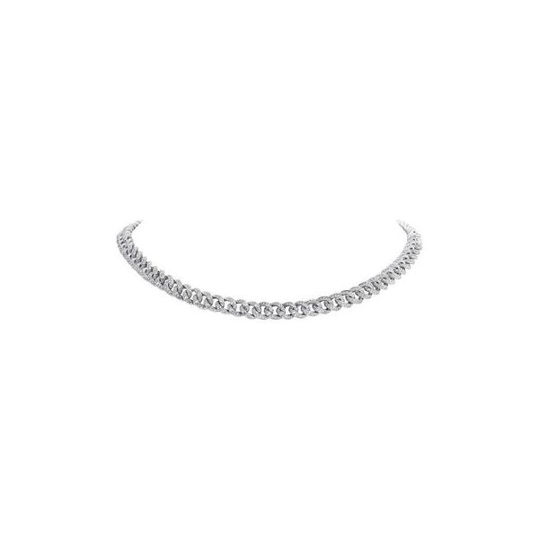 14K White Gold Cuban Pave Choker Necklace Moore Jewelers Laredo, TX