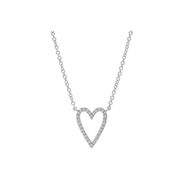 14K White Gold Open Heart Diamond Necklace Moore Jewelers Laredo, TX