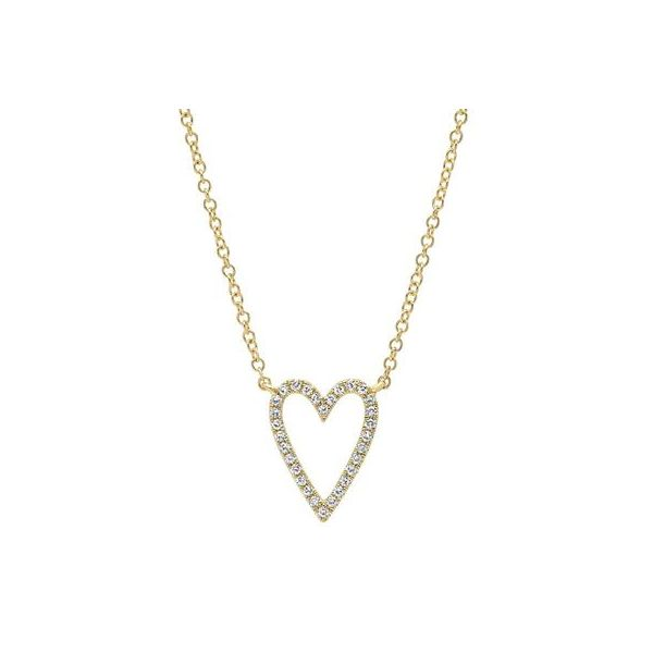 14K Yellow Open Heart Pave Necklace Moore Jewelers Laredo, TX