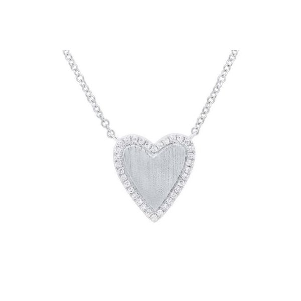 Lady's White 14 Karat Heart Necklace Moore Jewelers Laredo, TX