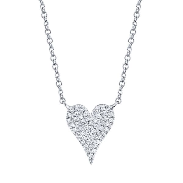 14K White Gold Heart Necklace Moore Jewelers Laredo, TX