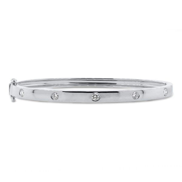 14K White Gold Diamond Bangle Bracelet Moore Jewelers Laredo, TX