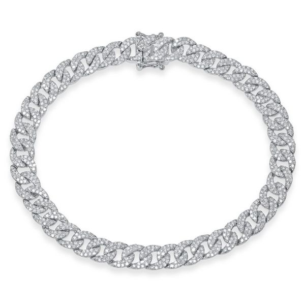 14K White Gold Cuban Diamond Link Bracelet Moore Jewelers Laredo, TX