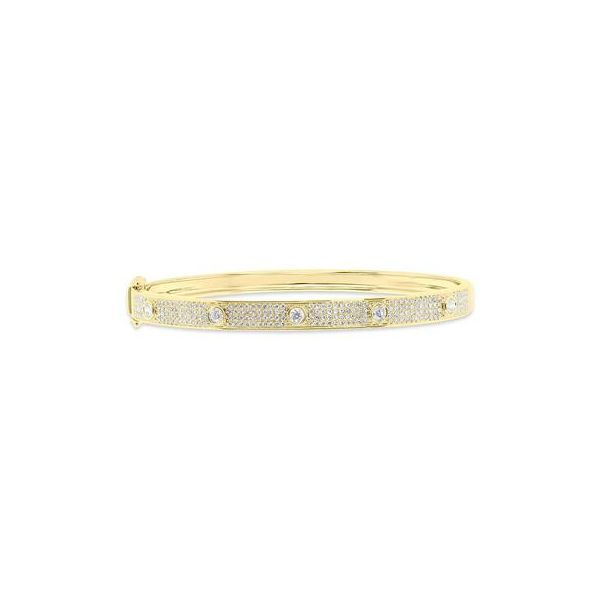 14K Yellow Gold Diamond Bangle Bracelet Moore Jewelers Laredo, TX