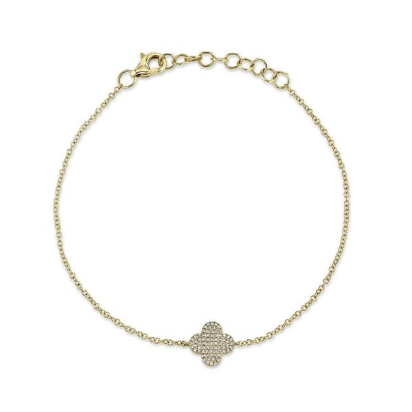 14K Yellow Gold Pave Clover Bracelet Moore Jewelers Laredo, TX