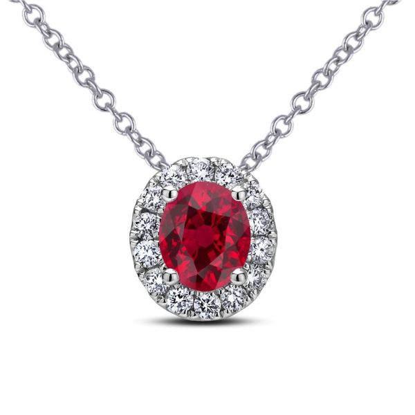 Lady's White 14 Karat Gold Ruby And Diamond Necklace Moore Jewelers Laredo, TX