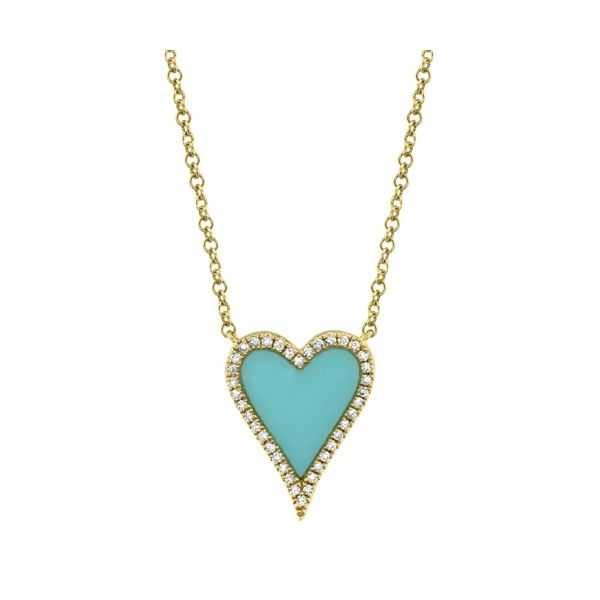 14K Yellow Gold Heart Diamond Necklace with Turquoise Stone Moore Jewelers Laredo, TX