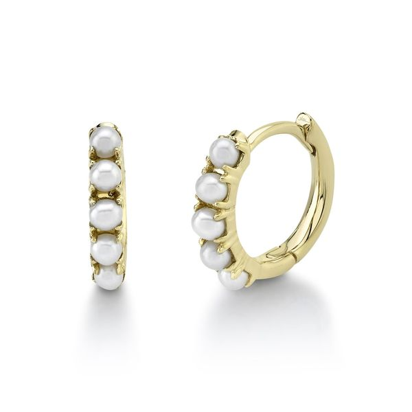 14K Yellow Gold Pearl Huggie Earrings Moore Jewelers Laredo, TX