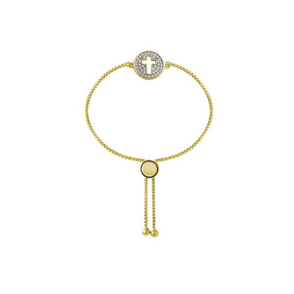 Lady's Yellow Sterling Silver Bolo Bracelet with CZ Cross and Rhodium Finish Moore Jewelers Laredo, TX