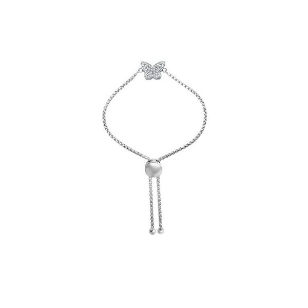 Lady's White Sterling Silver Bolo Bracelet with CZ Butterfly and Rhodium Finish Moore Jewelers Laredo, TX