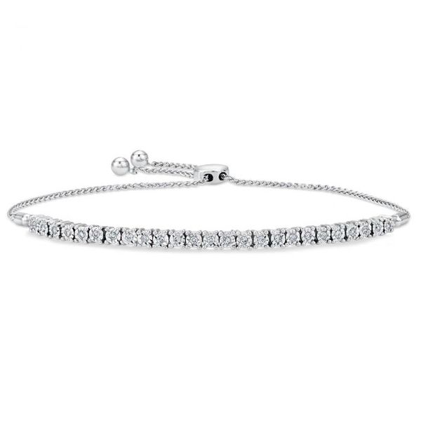 Lady's White Sterling Silver Friendship Bolo Bracelet, Tennis with CZ and Rhodium Finish Moore Jewelers Laredo, TX