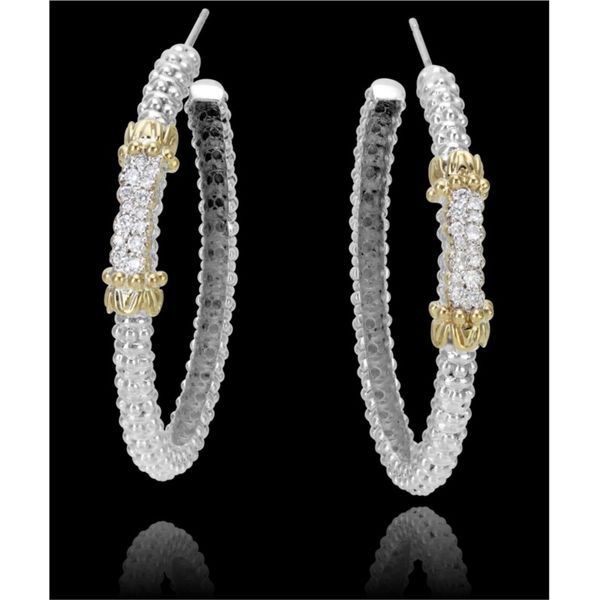 Lady's 2Tone 14k Gold & Sterling Silver Moiré Beading Medium Hoop Earrings Moore Jewelers Laredo, TX