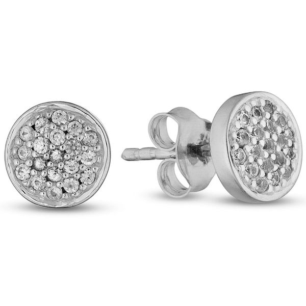 Lady's White Sterling Silver Button Earrings Moore Jewelers Laredo, TX