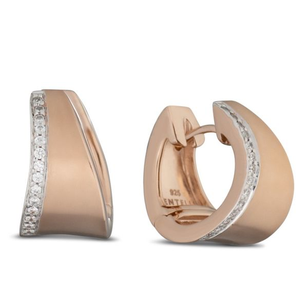 Lady's Rosé Gold Plated Sterling Silver Huggie Earrings Moore Jewelers Laredo, TX