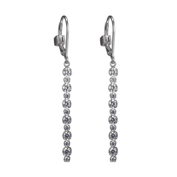 Lady's White Sterling Silver Cz Long Dangle Earrings Moore Jewelers Laredo, TX