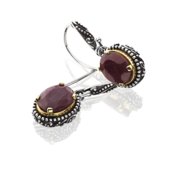 Sterling Silver Dangle Earrings With  Oval Indian Rubies Moore Jewelers Laredo, TX