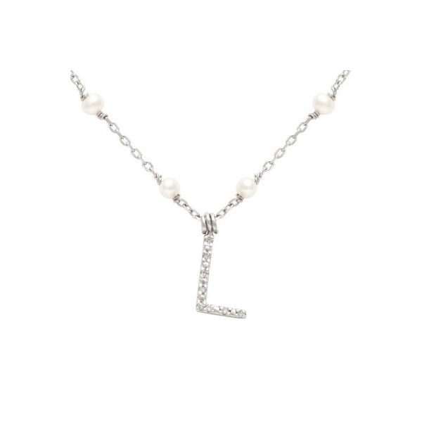 Lady's Sterling Silver Pearl Necklace With Initial
