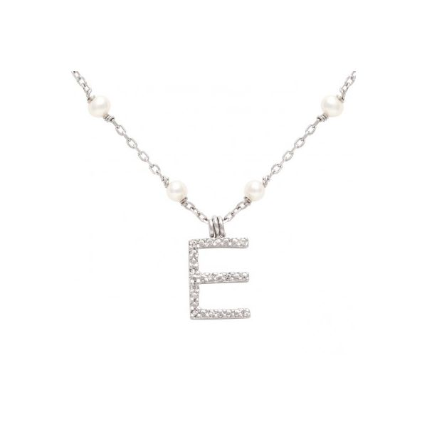 White Sterling Silver Necklace With Letter 'E' Moore Jewelers Laredo, TX