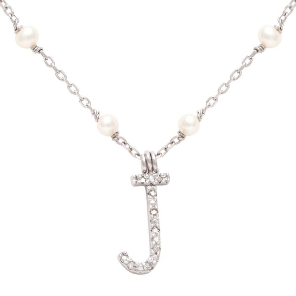 Lady's Sterling Silver Pearl Necklace with Diamond Initial