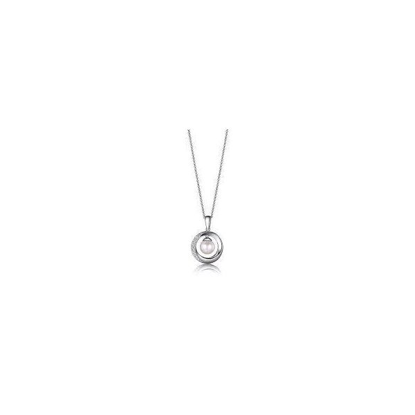 Lady's White Sterling Silver Pendant with pearl Moore Jewelers Laredo, TX