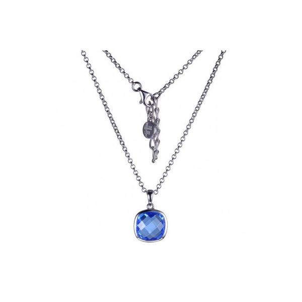 Lady's White Sterling Silver Rhodium Plated Drop Pendant With Cushion Blue Quartz (Syn) Moore Jewelers Laredo, TX