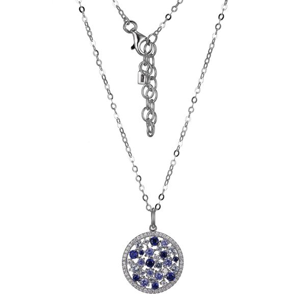 Lady's White Sterling Silver Halo Blue Stiones Design Pendant Moore Jewelers Laredo, TX