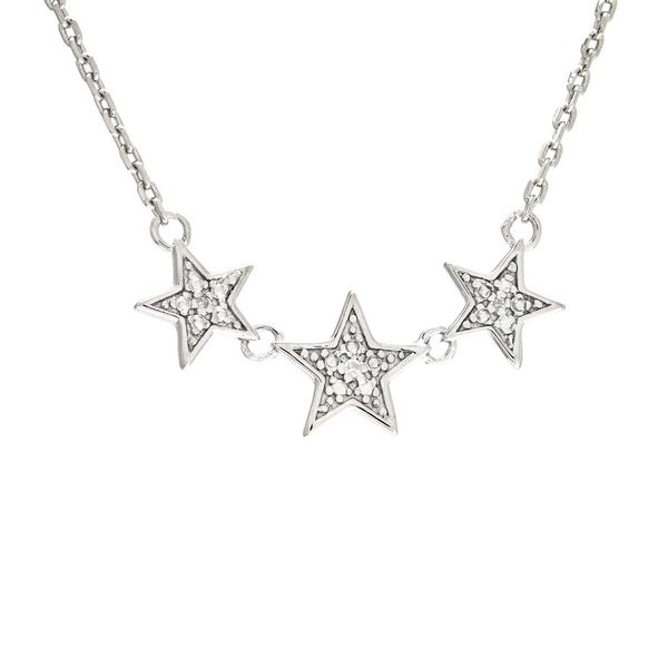 Sterling Silver Star Micro Pave Diamond Necklace Moore Jewelers Laredo, TX