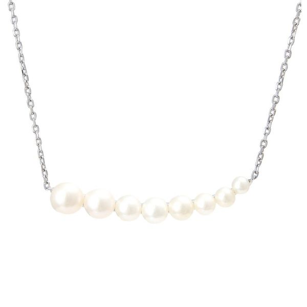 Sterling Silver Curved Bar Pearl Necklace Moore Jewelers Laredo, TX