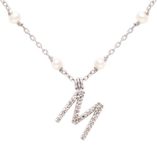 Lady's White Sterling Silver Necklace on Pearl Chain with