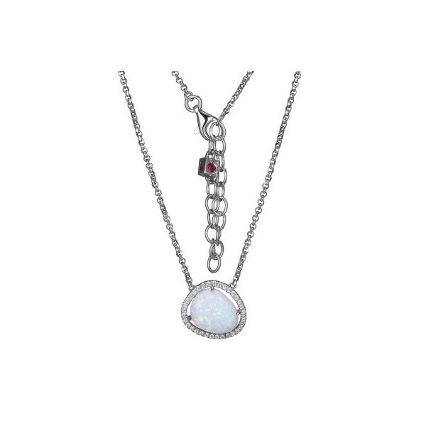 Lady's White Sterling Silver Rhodium Plated Necklace With One Oval Opal (Syn) Moore Jewelers Laredo, TX