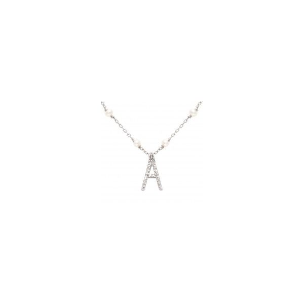 White Sterling Silver Necklace With Letter