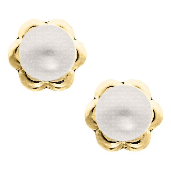 Children's 14K Yellow Gold Stud Earrings With Round Pearls Moore Jewelers Laredo, TX