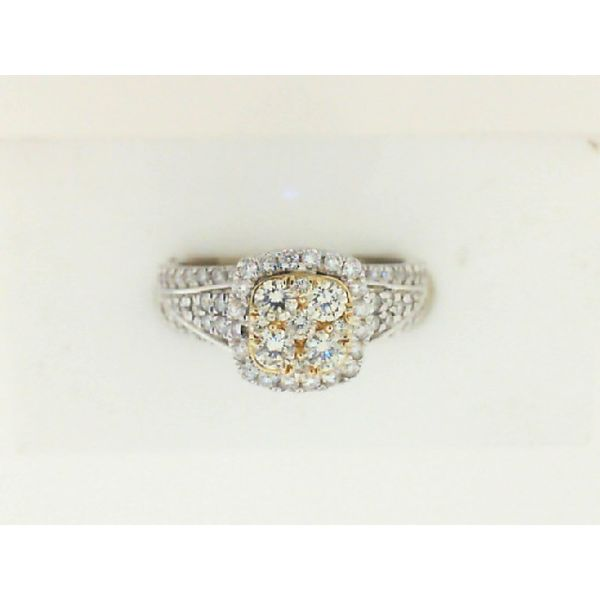 14K White Gold Yellow & White Diamond Halo Ring Moseley Diamond Showcase Inc Columbia, SC