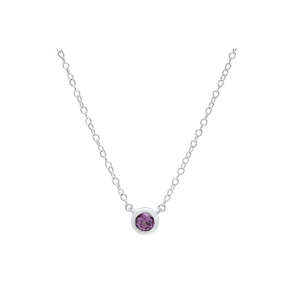 Ladies White Gold 4MM Alexandrite Bezel Set Pendant with Chain Moseley Diamond Showcase Inc Columbia, SC