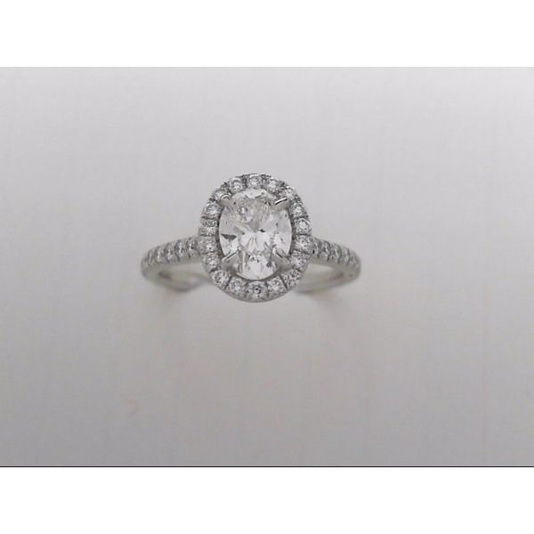 14k White Gold Engagement Ring With Oval Center & 38 Round Diamonds Orin Jewelers Northville, MI