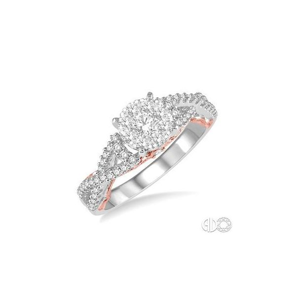 14k White & Rose Gold Engagement Ring With 59 Diamonds Orin Jewelers Northville, MI