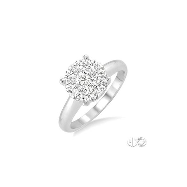 Lady's 14 Karat White Gold Engagement Ring With 9 Diamonds Orin Jewelers Northville, MI