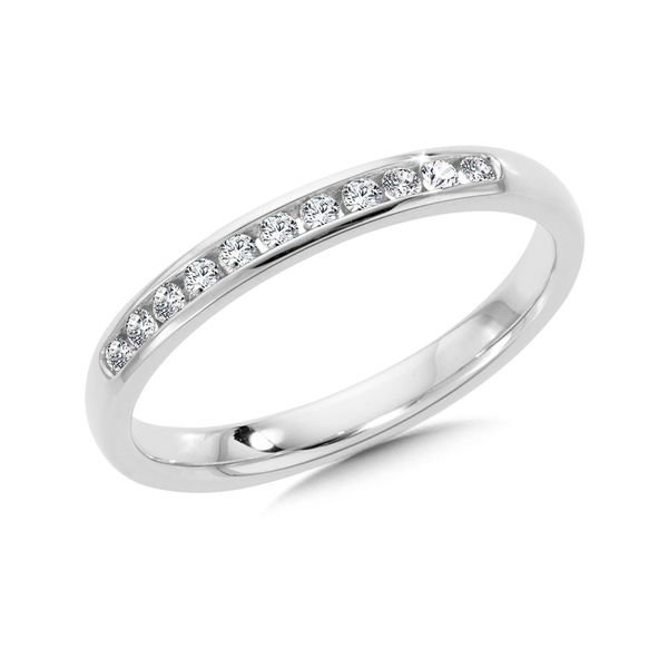Lady's 14 Karat White Gold Channel Set Wedding Band With 11 Diamonds Orin Jewelers Northville, MI