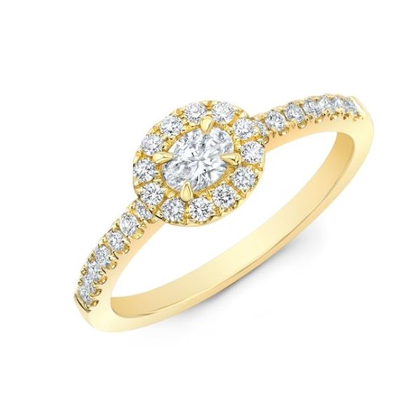 Lady's 18K Yellow Gold Engagement Ring w/27 Diamonds Orin Jewelers Northville, MI