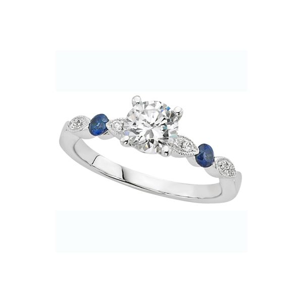 Lady's 14K White Gold Mounting w/2 Sapphires & 8 Diamonds Orin Jewelers Northville, MI