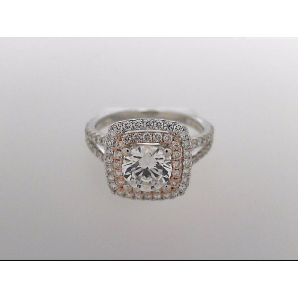 18 Karat White & Rose Gold Ring Mounting With 80 Diamonds Orin Jewelers Northville, MI