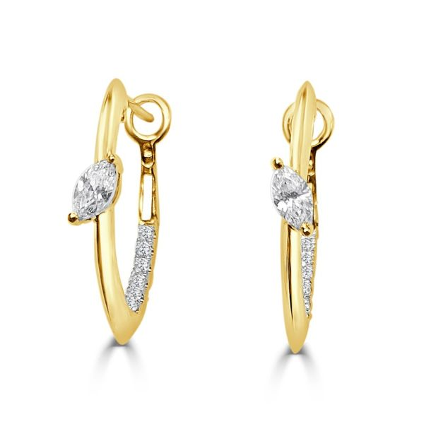 Lady's 14k Yellow Gold Hoop Earrings With Marquise & Round Diamonds Orin Jewelers Northville, MI