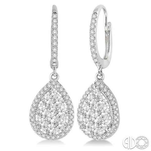 14k White Gold Pear Shape Lovebright Earrings With 100 Diamonds Orin Jewelers Northville, MI