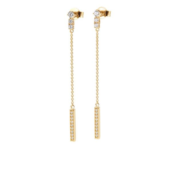Lady's 14k Yellow Gold Drop Earrings With 24 Diamonds Orin Jewelers Northville, MI