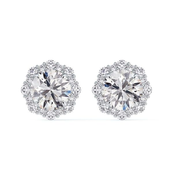 FOREVERMARK Platinum Center of My Universe Floral Halo Earrings Witjh 34 Diamonds Orin Jewelers Northville, MI