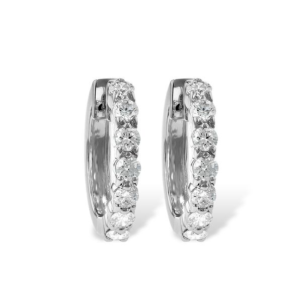 14k White Gold Hoop Earrings With 14 Diamonds Orin Jewelers Northville, MI
